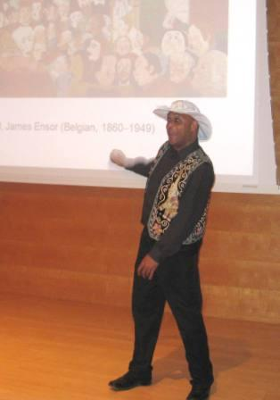 Storyteller Makinto described how he developed a story inspired by Christ's Entry into Brussels in 1889 by Belgian painter James Ensor. Then he treated everyone to an excerpt of his engaging story.