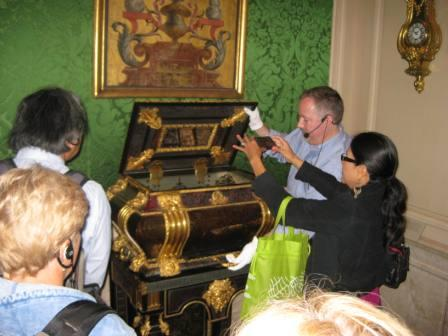 We had the rare opportunity to peek inside a beautiful 17th-century coffer with curator Jeffrey Weaver.