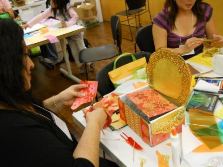 Teachers created their own dream beds by choosing from a variety of colorful paper, ribbons, and assorted collage materials.