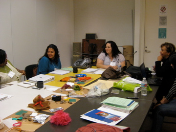 Kindergarten and first grade teachers brainstorm on a lesson on texture in art and the environment.