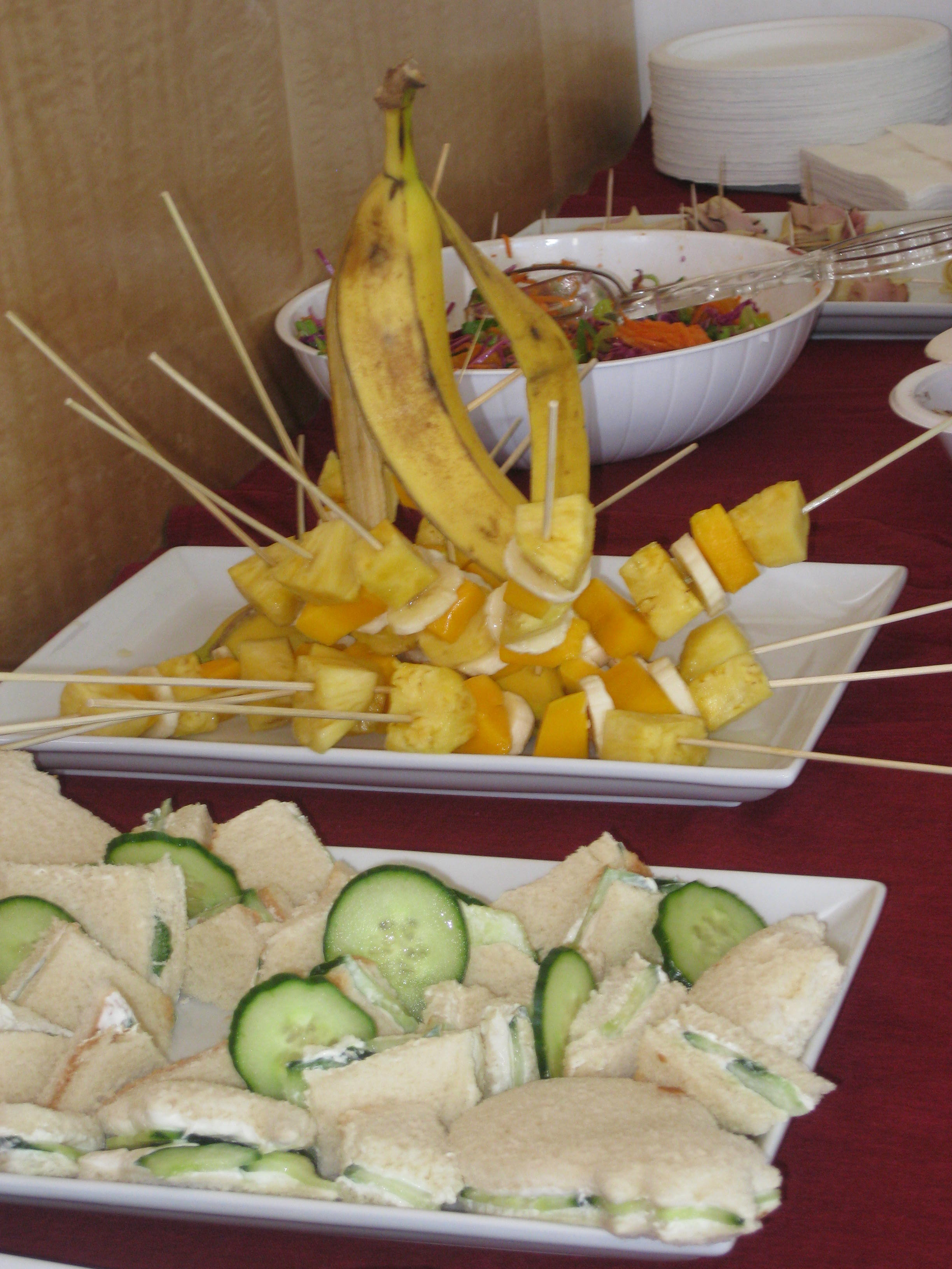 And the result...sculptural skewers and artful tea sandwiches!