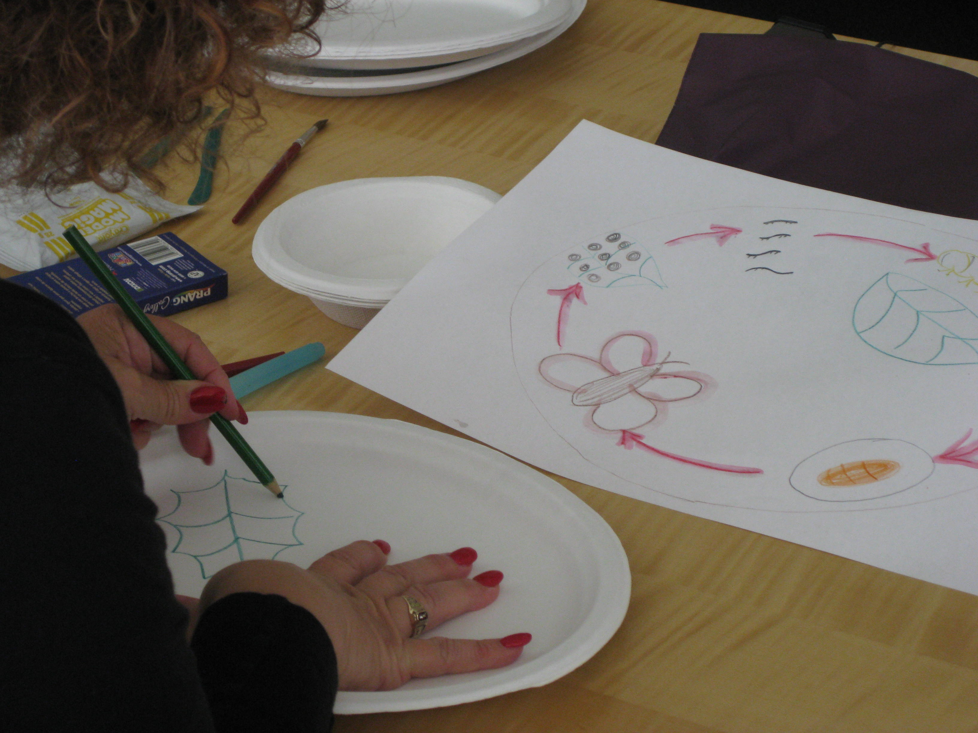 Teachers decorated their plates with everything from patterns and seascapes to life cycles, as depicted here.