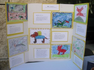 Leticia Lopez's 4th grade students at Kennedy E.S. created hybrid creatures inspired by illuminated manuscripts.