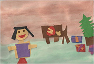 Inspired by a 16th-century painting depicting a holiday, this student created a work of art about her family's holiday tradition of making tamales.