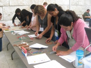 "Teachers were encouraged to use household ""tools"" like straws and forks to create different types of marks."