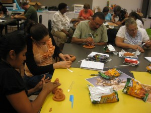 Lower elementary teachers created snakes using Crayola Model Magic in a &quot;terracotta&quot; color.