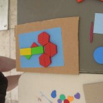 "Teachers arranged  a variety of shapes to ""print"" onto the light-sensitive paper."