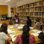 Educator Kelly Williams introduces teachers to resources available to them in the Education Resource Center.