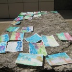 What a colorful array of watercolors! Participants used experimental techniques such as adding salt and using squirt guns.