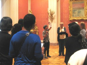"Museum educator Flora Ito led a tour of ""crazy"" containers such as decorative potpourri vessels created to look like ships."
