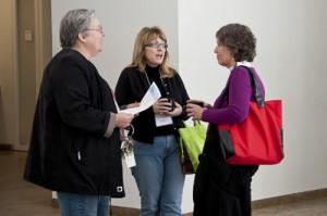 Teachers from Carlos Santana Arts Academy enjoyed coffee and conversation before the program.