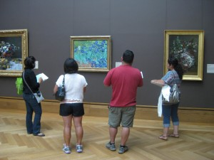 Since the galleries are not open to the public, four teachers were able to write about Van Gogh's Irises without having to push through the crowds.