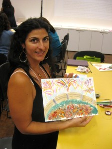 "Sonia Faye did a ""bang up"" job on her painting of a celebration. (Pun intended!)"