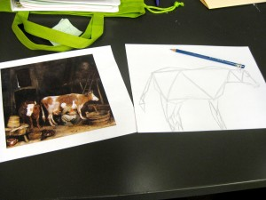A cow made up of a combination of triangles!