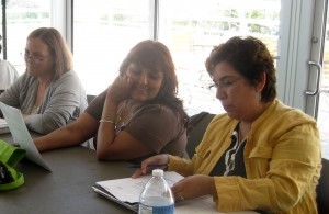 Teachers discuss possible directions for their arts-integrated language arts lesson plans.