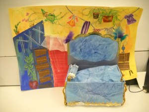 After working with sculpture, teachers were invited to create dream beds and place them in settings.