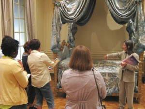 Curator Charissa Bremer-David captivated teachers by describing the history of this magnificent bed.