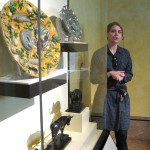 Graduate intern Elizabeth Osenbaugh leads a tour of the sculpture collection.
