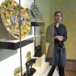 Graduate intern Elizabeth Osenbaugh leads a tour of the sculpture collection.