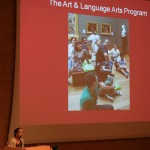 Museum educator Theresa Sotto congratulates teachers on another successful year of the Art &amp; Language Arts program.
