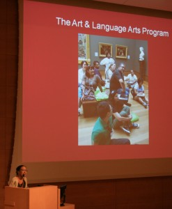 Museum educator Theresa Sotto congratulates teachers on another successful year of the Art & Language Arts program.