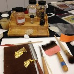 A manuscript illuminator's tools of the trade.