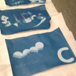How do you make a caterpillar on a cyanotype look three-dimensional? You let the shadows of wooden shapes leave imprints onto the light-sensitive paper!