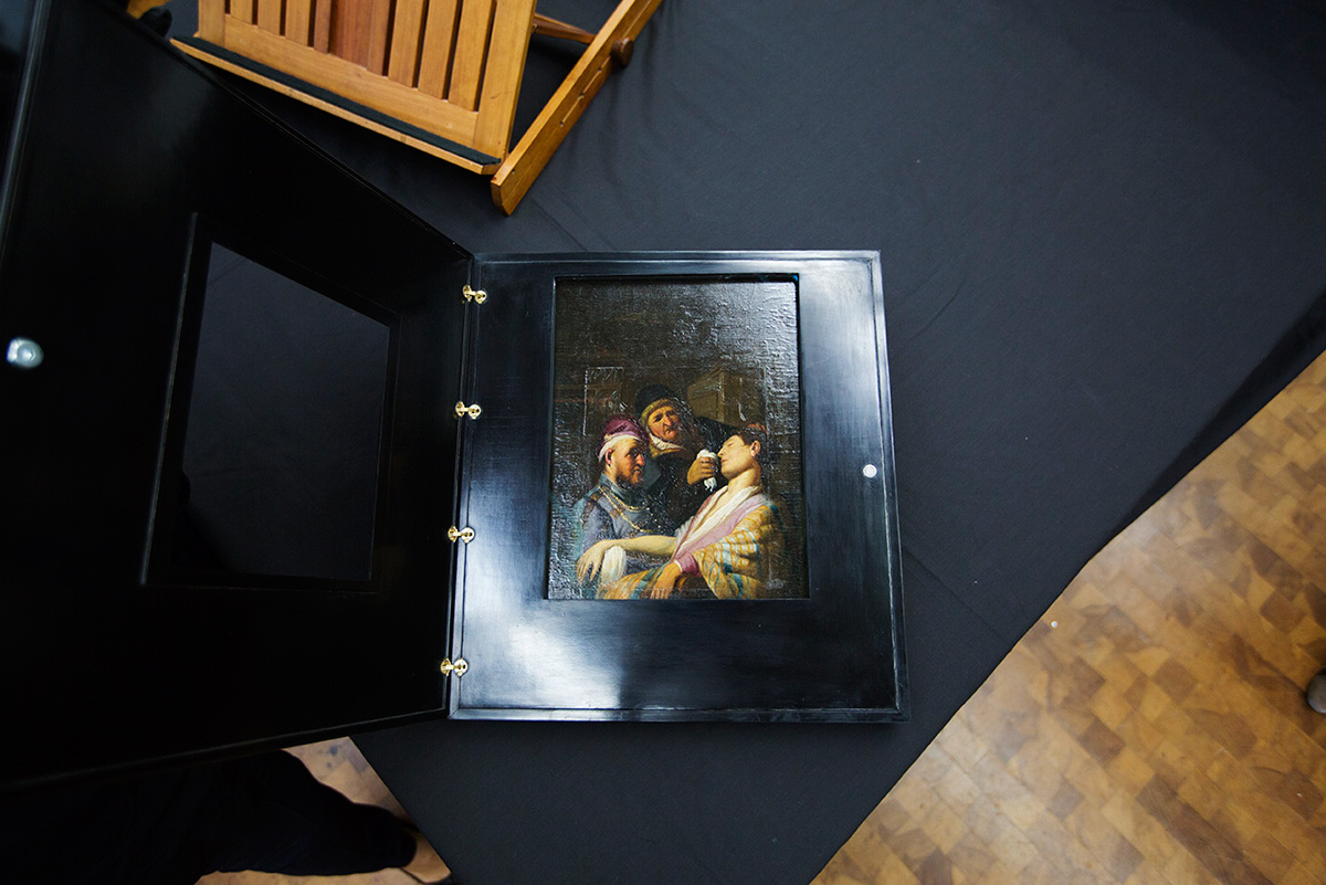 Rembrandt's Smell is housed in a newly designed frame with a special door
