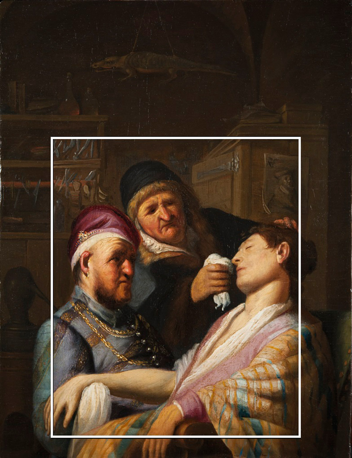 Rembrandt's Smell showing the larger panel surround added in the 1700s