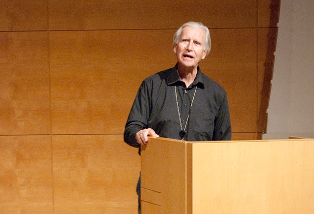 Brian O'Doherty at the podium in the Museum Lecture Hall