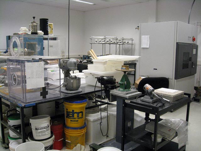 Inside the Accelerated Aging Lab: tools for studying rock and mortar. The machine that looks like an industrial Kitchenaid is, in fact, a Kitchenaid—it's used for mixing lime putty and mortars.