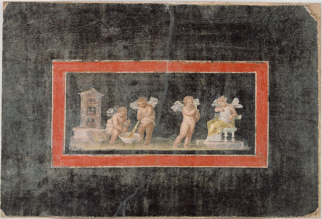 Love, ancient Roman style: Cupids cook up perfume (love potion?) in this fresco fragment from the first century A.D.