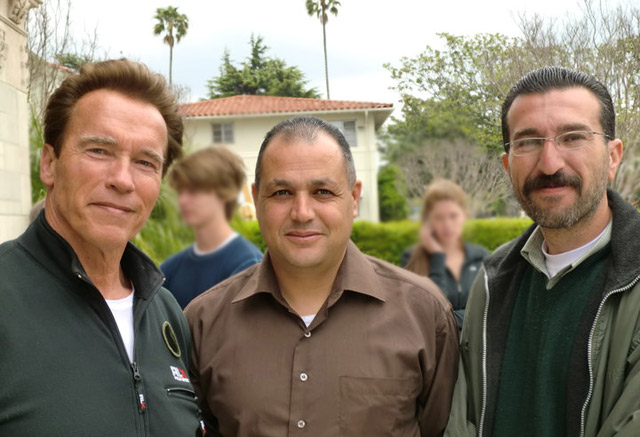 One of many pleasant surprises: a chance meeting with Arnold Schwarzenegger.  With him are Sa&#039;te Masa&#039;deh and Ahmad Lash, from left.