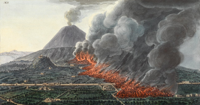 View of an Eruption of Mount Vesuvius, Peter Fabris. Hand-colored engraving in Sir William Hamilton, Campi Phlegraei, 1776.