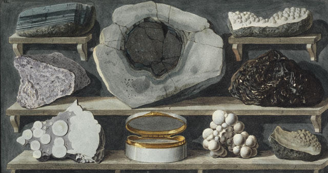 <em>Specimens of Curious Stones Found by the Author on Mount Vesuvius</em>, Peter Fabris. Hand-colored engraving in Sir William Hamilton, <em>Campi Phlegraei</em>, 1776