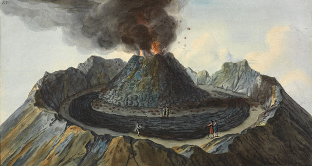 An observation made, from an original drawing, of the interior view of the crater of Mount Vesuvius, prior to the eruption of 1767, Peter Fabris
