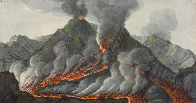 Interior view of the crater of Mount Vesuvius, as observed in 1756