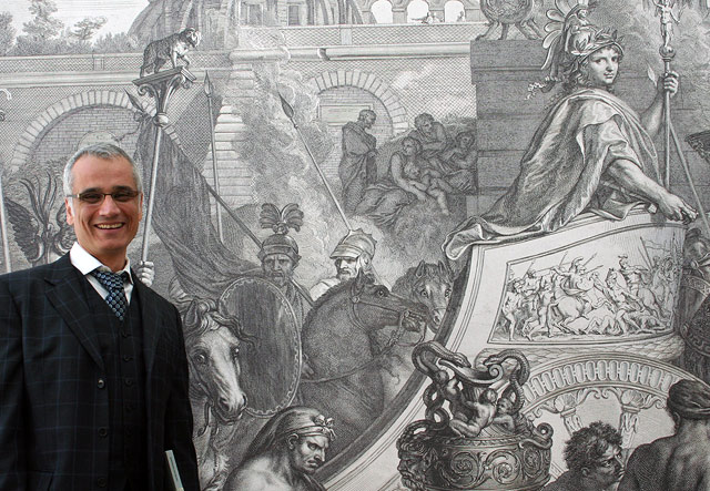 Two Louises: curator Louis Marchesano (left) and Louis XIV (right) in the engraving Triumphal Entry into Babylon by Gérard Audran afer Charles Le Brun
