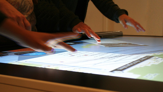 Exploring a map of Los Angeles on the Ideum multitouch table