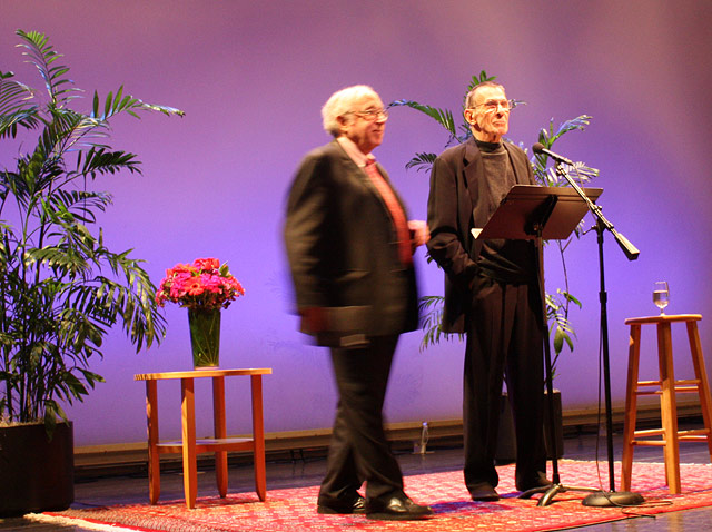 Isaiah Sheffer and Leonard Nimoy on stage at the Getty Center
