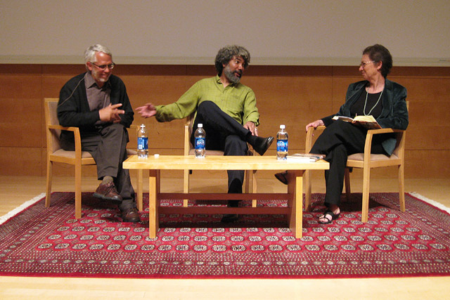 Provocateurs? David Wilson (left) and Fred Wilson (center), with Selma Holo