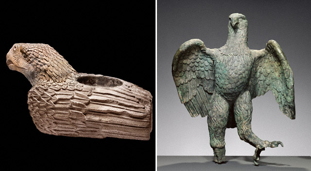 Left: <i>Eagle Vessel</i>, Aztec, about 1500; found near the Templo Mayor, Mexico City. Basalt and pigment, 76 x 82 x 139 cm. Museo del Templo Mayor, Mexico City. CONACULTA-INAH-MEX © foto zabé. Reproduction authorized by the National Institute of Anthropology and History. Right: Eagle, Roman, A.D. 100–300. Bronze, 104.2 x 78.7 x 76.2 cm. The J. Paul Getty Museum, 72.AB.151