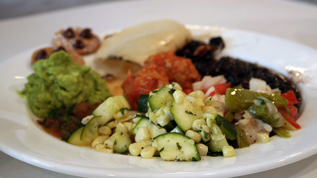 An Aztec meal cooked created by participants at a culinary workshop at the Getty Villa