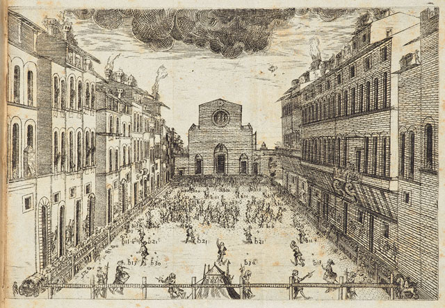 A depiction of Florentine soccer in Giovanni de' Bardi, <em>Discorso sopra il givoco del calcio fiorentino del Puro Accademico Alterato</em> (Florence, Stamperia dei Giunti, 1580). The Getty Research Institute, 1370-871