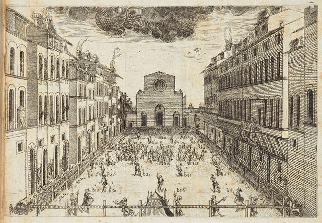 A depiction of Florentine soccer in Giovanni de' Bardi, <em>Discorso sopra il givoco del calcio fiorentino del Puro Accademico Alterato</em> (Florence, Stamperia dei Giunti, 1580). The Getty Research Institute, 1370-871