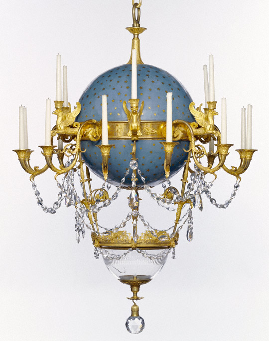 Chandelier, Gerard-Jean Galle, 1818–19. Gilt bronze, enameled metal, and glass
