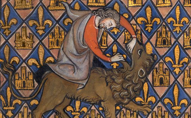 <em>Samson Fighting a Lion</em> (detail), Franco-Flemish, about 1270