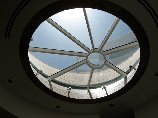 View of the oculus in the Research Library at the Getty Research Institute