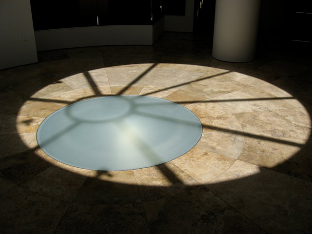 Sun hitting the oculus at 12:42 p.m. in the Research Library at the Getty Research Institute