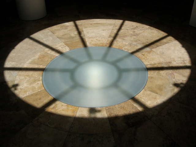 Sun hitting the oculus at 1:00 p.m. in the Research Library at the Getty Research Institute